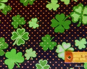 One Half Yard Cut Quilt Fabric, St. Patrick's Day, Clover/Shamrocks on Black by Maria Kalinowski 4 Kanvas, Sewing, Quilting, Craft Supplies