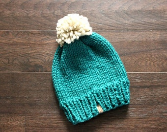 Knit Chunky Hat, THE TAHOE, Adult Ski Hat, Chunky Knit Hat, Cozy Hat, Womens Pom Pom Hat, Adult Hat, Chunky Knits, Chunky Knit Hat