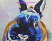 "Original Seal Point Dwarf Rabbit Oil Painting 8""x8"" portrait NOT a print"