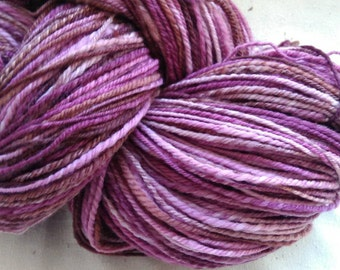 Purple, handspun, 3 ply sock yarn, from hand dyed wool - 445yds
