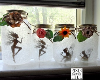 Fairy Silhouette Cutouts for Lantern Jars - Medium or Small 6 per set