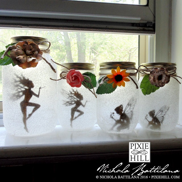 Fairy Silhouette Cutouts For Lantern Jars Medium 6 Per Set