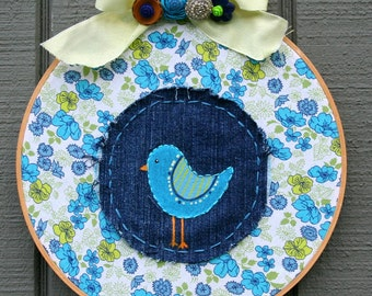 NURSERY ART Hand painted and stitched  Bird Painting HOOP Vintage fabric and up cycled denim wall hanging gift Baby shower Embellished bow