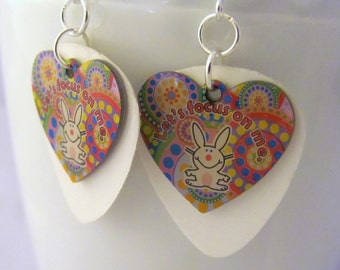 Happy Bunny Earrings Let's Focus on Me Valentine Earrings Heart Earrings Upcycled Guitar Pick Earrings Gifts for Friends Gifts for Wife