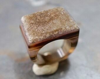 Brown druzy ring /  statement Druzy ring /  Geod ring / stone ring / Agate druzy ring size 8