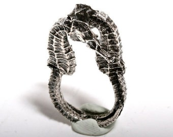 Seahorse Ring Sterling Silver size 5 or 6.5 ocean jewelry by Zulasurfing