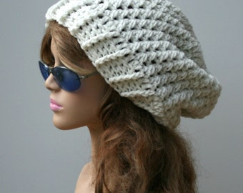 Slouchy Beanie, Eggshell Baggy Hipster Hat, Dread Tam hat,  Slouchy Hippie Beanie hat, Handmade Crochet slouch hat, woman beanie off white