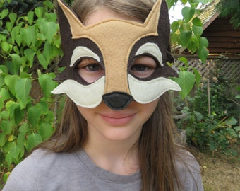 Coyote Mask - Brown Wolf Mask - Dog Mask - Woodland Costume Accessory - Pretend Play