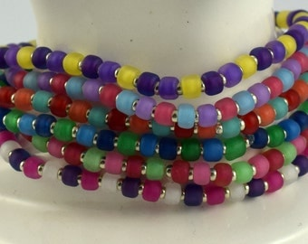 Colorama multicolor bright summer set of six stretchy seed bead bracelets size LARGE 7 1/2 inches