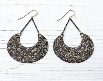 etched lace earrings in brass | gold lace earrings | lace etching | gold filled earrings