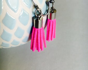 Hot pink tassel earrings, fringe earrings, preppy earrings, earrings for girls, statement earrings