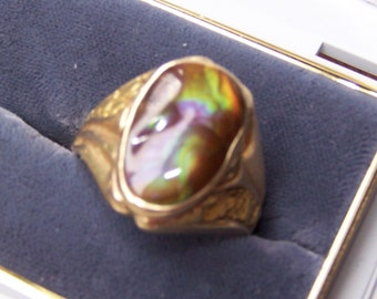 Ring, Fire Agate, 14KT Gold, GIA Appraisal,Sale