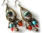 Beaded Earrings, Turquoise Howlite, Tangerine Orange Glass Beads, Antique Brass, Porcelain Beads, Swarovski Pearls, Southwestern, OOAK