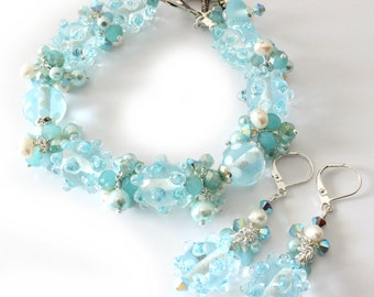 Aqua Lampwork Bracelet and Earrings, Crystals and Pearls, 2 Piece Set, Silver Jewelry, Starfish Charm, Dots, Bumps, Beaded Jewelry, OOAK