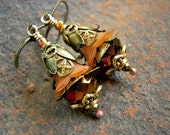 Amber Fairy Bells, Autumn Color, Fairy Flower Earrings, Elksong Jewelry, Deep Gold & Russet, Faery Couture, Antiqued Brass, Filigree Petals