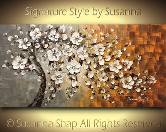 ORIGINAL Large Abstract Landscape Oil Painting White Flower Cherry Blossom Tree Home Decor Palette Knife Mixed Media Textured Art by Susanna
