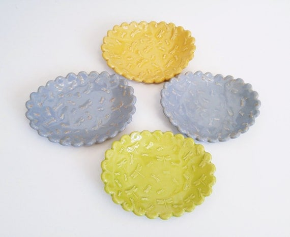 Ceramic Dish - Dragonfly - Ceramic - Soap Dish - Catchall Dish - Candle Holder - Handmade Pottery - Dragonflies - Blue - Green - Yellow