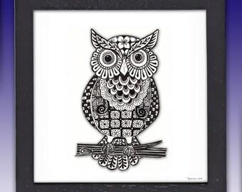 Owl Art, Pen & Ink print, Framed