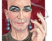 Original Watercolor Painting Portrait Art Liz Taylor AHS Hotel 7 x 10 inches