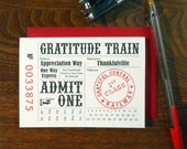 letterpress customizable grattitude train ticket greeting card thank you pink black red
