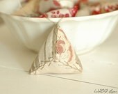 One Antique Ticking, French Floral, Aged Linen, Triangle Pin Cushion Pin Keep Ornament