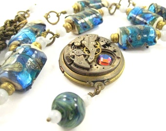 Blue Stone Lampwork ... Steampunk Lampwork Glass Beads and Watch Part Locket Necklace One of a Kind