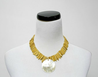 SALE!!! . CAROLINA .  mother of pearl and coco shell fringe necklace / choker