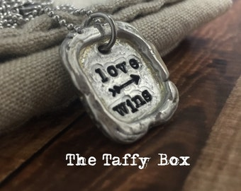 Love Wins Handstamped Pewter Unisex Necklace