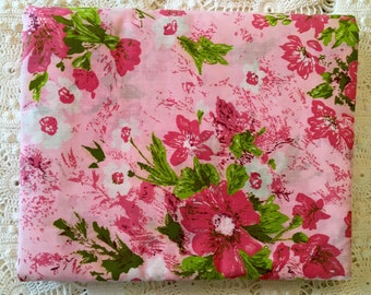 New Vintage Duvet Cover - Cotton Comforter and Blanket Cover  - New Twin Full - Pink Green Floral - Unused NIP NOS