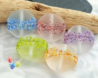 Lampwork Glass Beads Rainbow Blossom Set