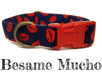"Navy Blue Red Lips Vintage Valentine Kisses Girl Dog Collar - Organic Cotton - Antique Brass Hardware - ""Besame Mucho"""