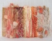 Art Yarn Bundle Coral Scrap Yarn Fiber Bits 1315