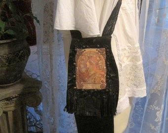 Magical Stevie Nicks Alphonse Mucha Hippie Gypsy Princess Patchwork Leather Purse Pouch Ooak