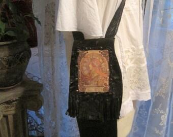 Magical Stevie Nicks Alphonse Mucha Hippie Gypsy Princess Patchwork Leather Purse Pouch Ooak