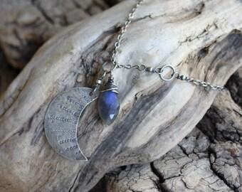 Moon Magic Talisman - Labradorite - Third Eye Chakra - Sterling Silver Necklace - Artisan Made