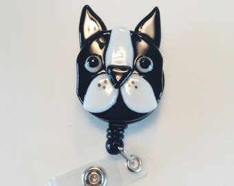 Boston Terrier Retractable Badge Holder Fused Glass.