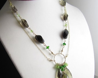 SALE Sprout at the Trunk Necklace - 14k Gold Fill Chain, Bi-color lemon-smoky quartz, Peridot, and Chrome Diopside