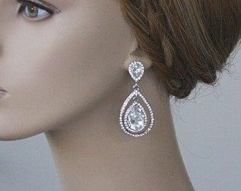 Bridal Teardrop Earrings, Wedding Jewelry, Swarovski Crystal Earrings, Bridal Earrings, Bridesmaid Party Gift,