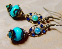 Caribbean Seas - Turqoise and Crystal Antique Brass Earrings