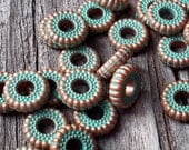 20 Pieces Vintage Turquoise Green Tone Spacer Disc Slider Ring Bead 10mm