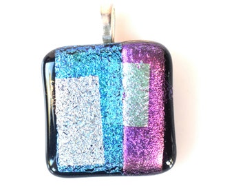 Blue Silver Pink Pendant - Dichroic Glass Pendant - Fused Glass Pendant -Mesh Necklace - Melted Glass Pendant