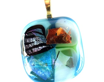 Blue Glass Pendant - Orange Pink Lavender Dichroic Pendant - Abstract Design Pendant - Fused Glass Pendant - Melted Glass - Mesh Necklace