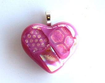 Pink Heart Pendant - Purple Pink Blue Pendant - Fused Glass Pendant - Melted Glass Pendant