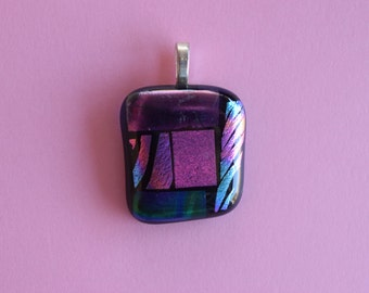 Pink Green Blue Glass Pendant - Dichroic Glass Pendant - Fused Glass Pendant - Glass Pendant - Melted Glass Pendant