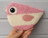 Zippered coin purse pouch purse felt wool pink white birdie bird