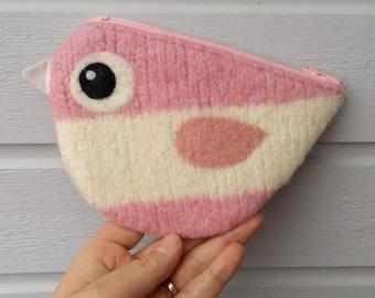 Zippered coin purse pouch purse felt wool pink white birdie bird