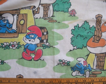 vintage Smurfs fabric *remnant* -- 3/4 of a twin fitted sheet, cotton blend, 1980s -- a Smurfy good deal -- craft supply fabric