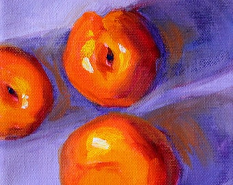 Small Kitchen Wall Painting, Original Oil, 6x6 Stretched Canvas, Orange Peaches, Blue Lavender, Fruit Art, Food, Square Format, Still Life