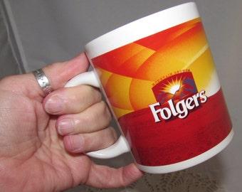 Vintage Folgers Coffee Stoneware Mug Cup, Mountain Grown, 70s, Advertising, collectible, yellow, orange, red,