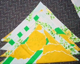set of 20 napkins, handmade, reversible, vintage linens, Eco-friendly, up-cycled,  ONE DOLLAR EACH, floral, bright yellows, yellow roses